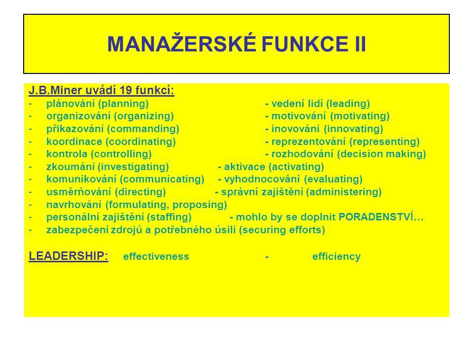 MANAŽERSKÉ FUNKCE II J.B.Miner uvádí 19 funkcí: