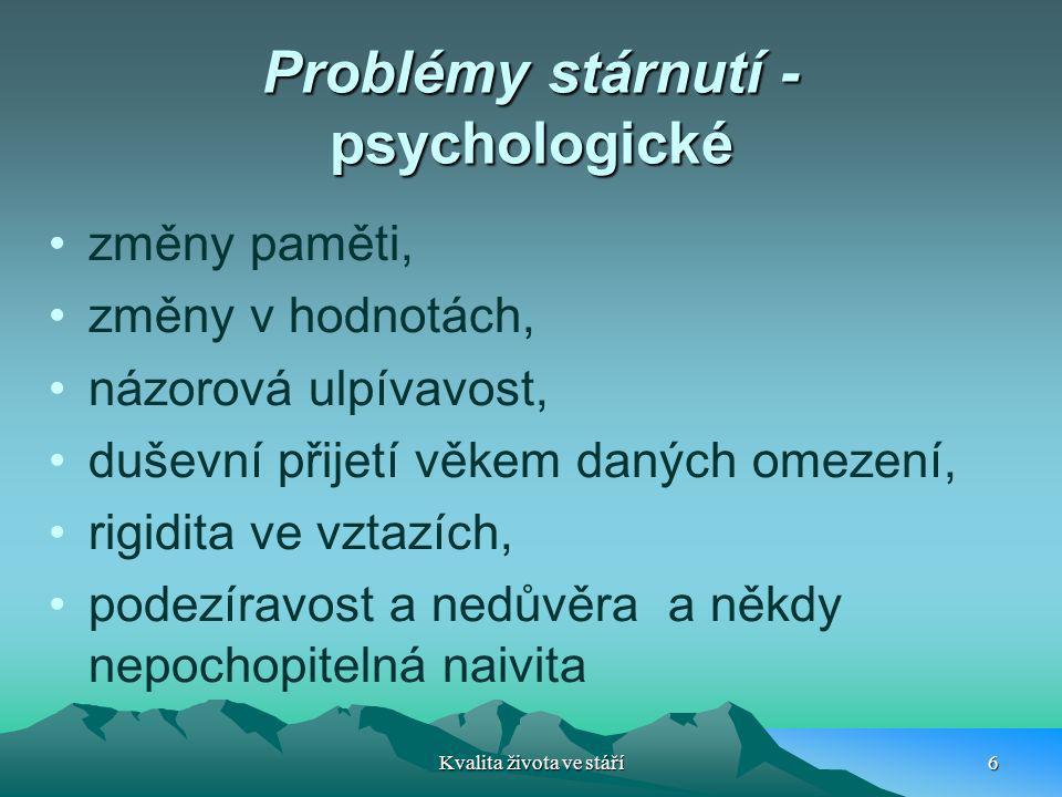 Problémy stárnutí - psychologické