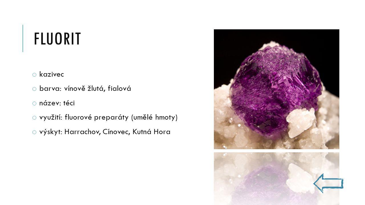 fluorit kazivec barva: vínově žlutá, fialová název: téci