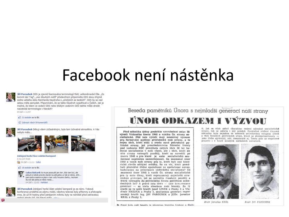 Facebook není nástěnka