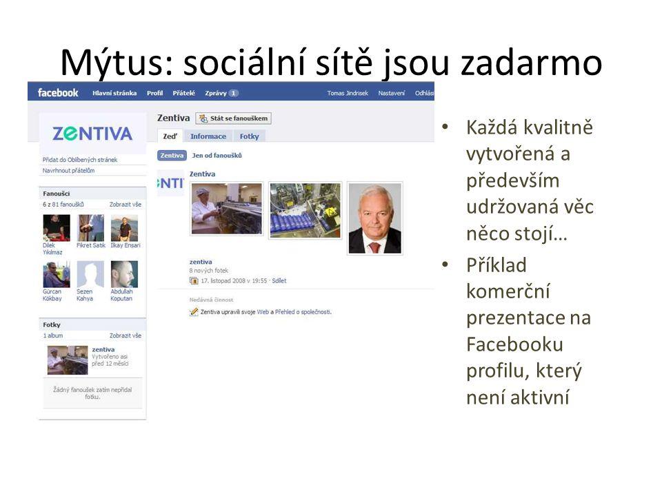 Mýtus: sociální sítě jsou zadarmo