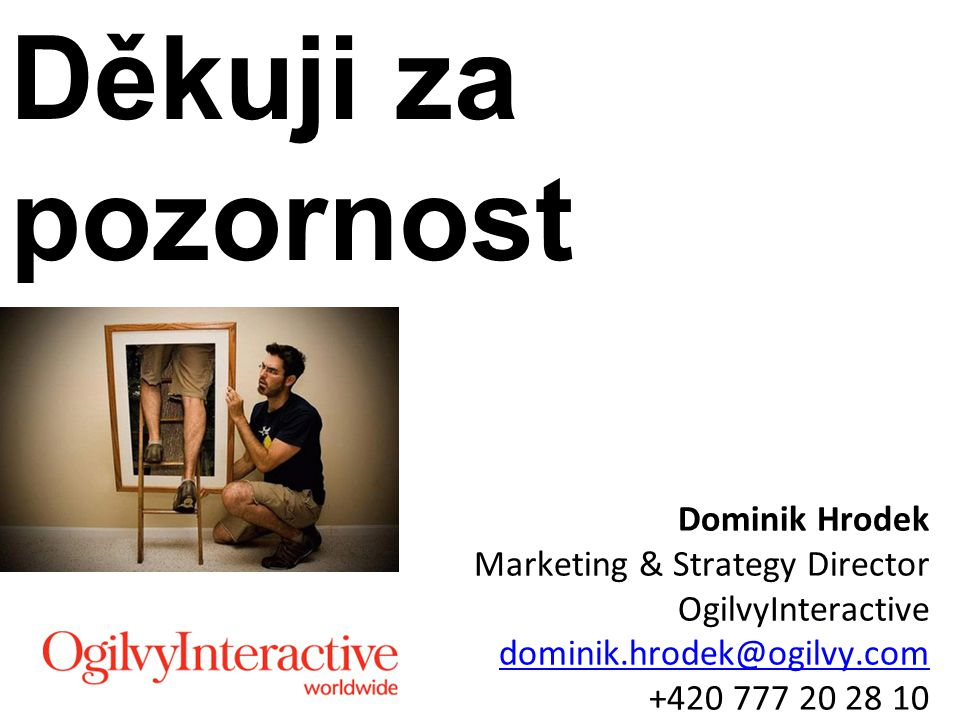 Děkuji za pozornost Dominik Hrodek Marketing & Strategy Director