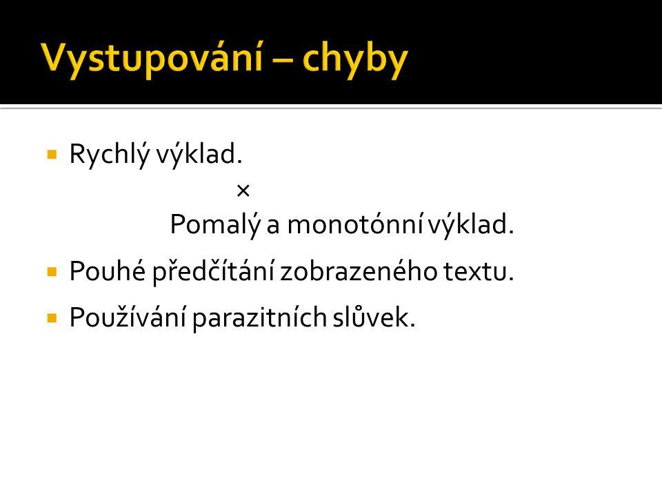 Vystupování – chyby Rychlý výklad. × Pomalý a monotónní výklad.