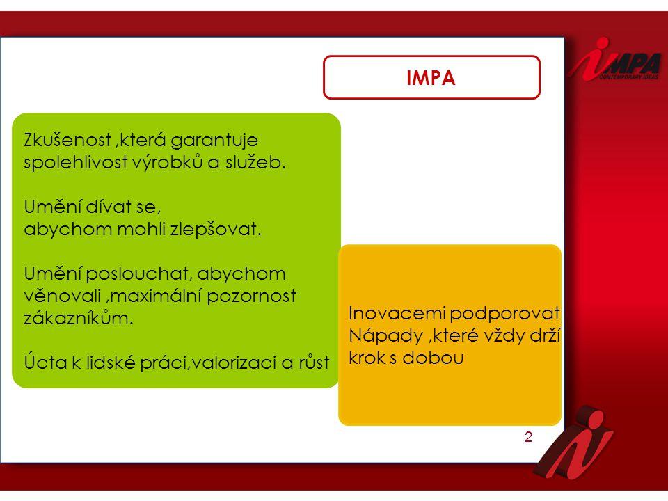IMPA Zkušenost ,která garantuje spolehlivost výrobků a služeb.