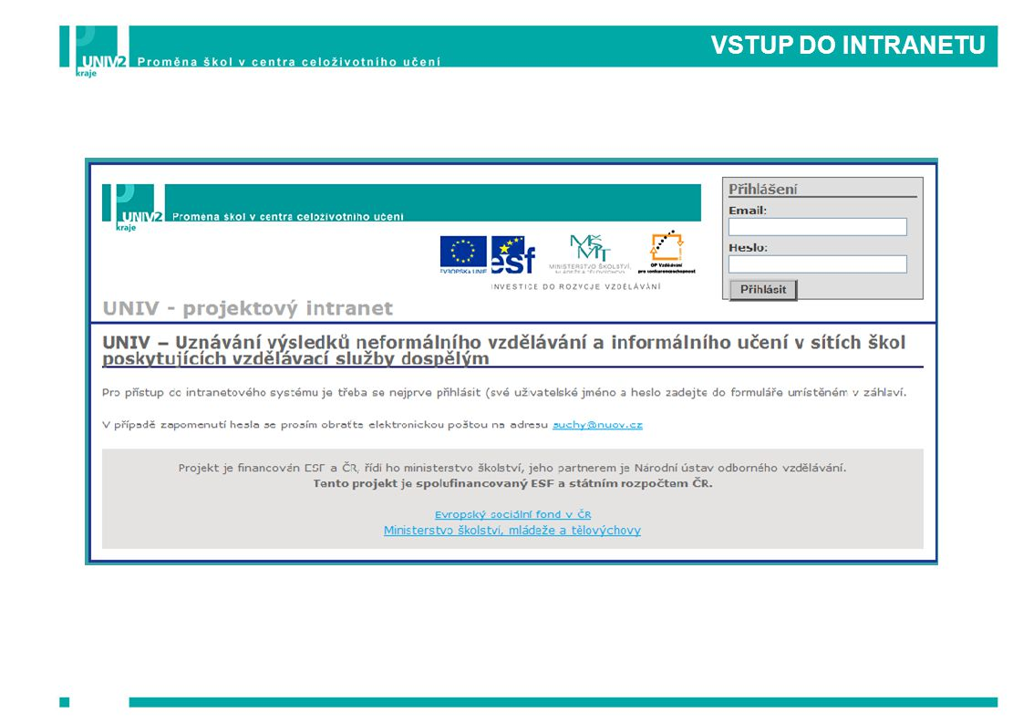 VSTUP DO INTRANETU