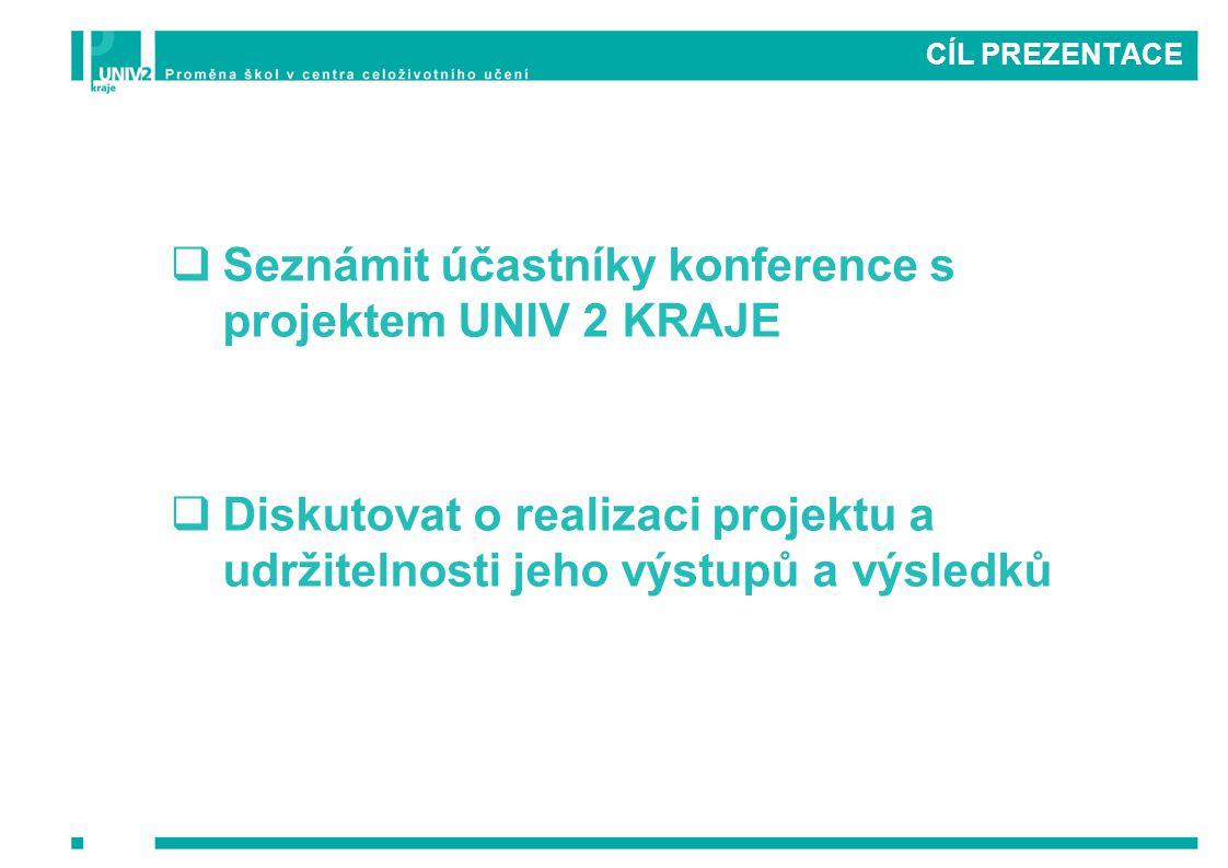Seznámit účastníky konference s projektem UNIV 2 KRAJE