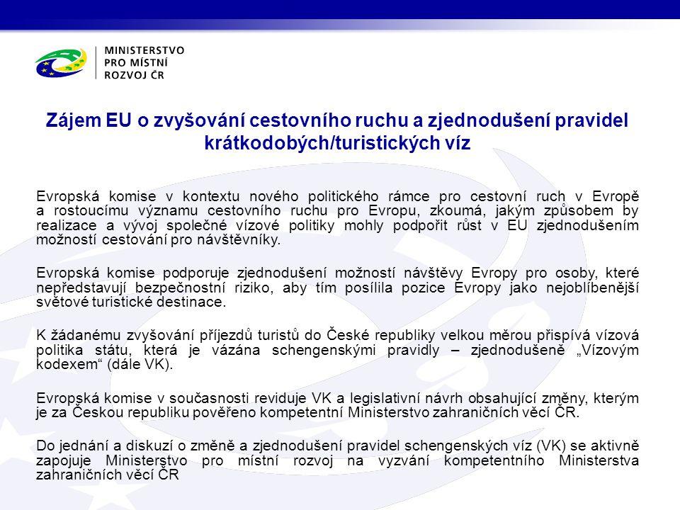 Zájem EU o zvyšování cestovního ruchu a zjednodušení pravidel krátkodobých/turistických víz