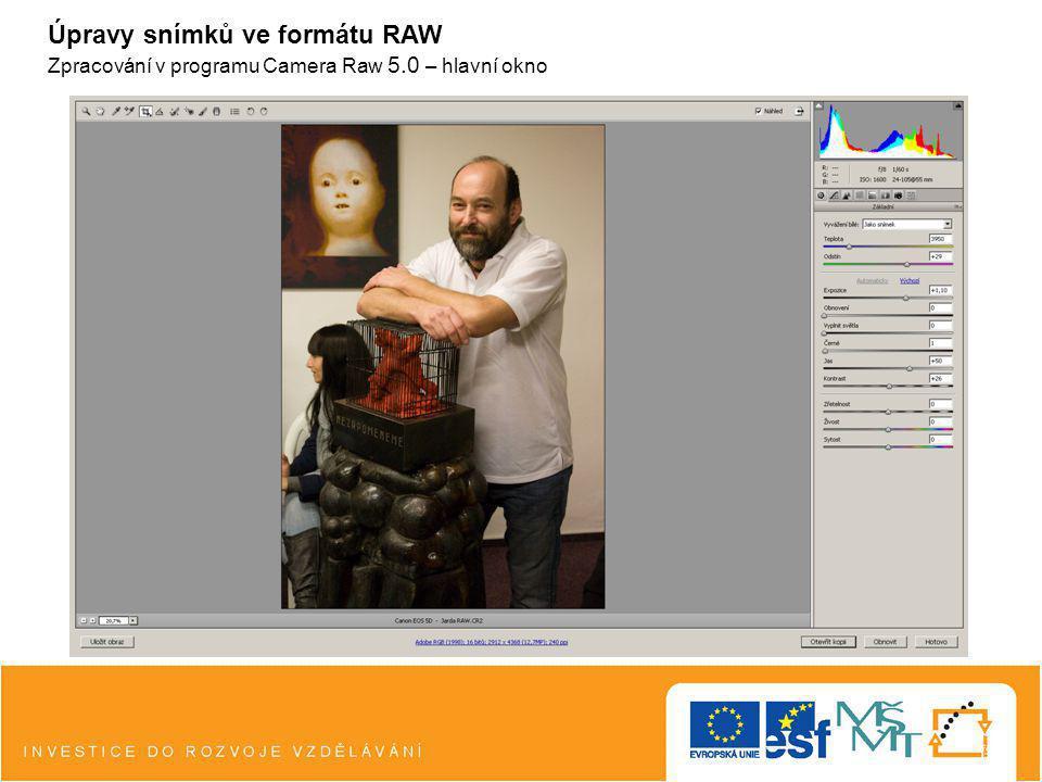 Úpravy snímků ve formátu RAW