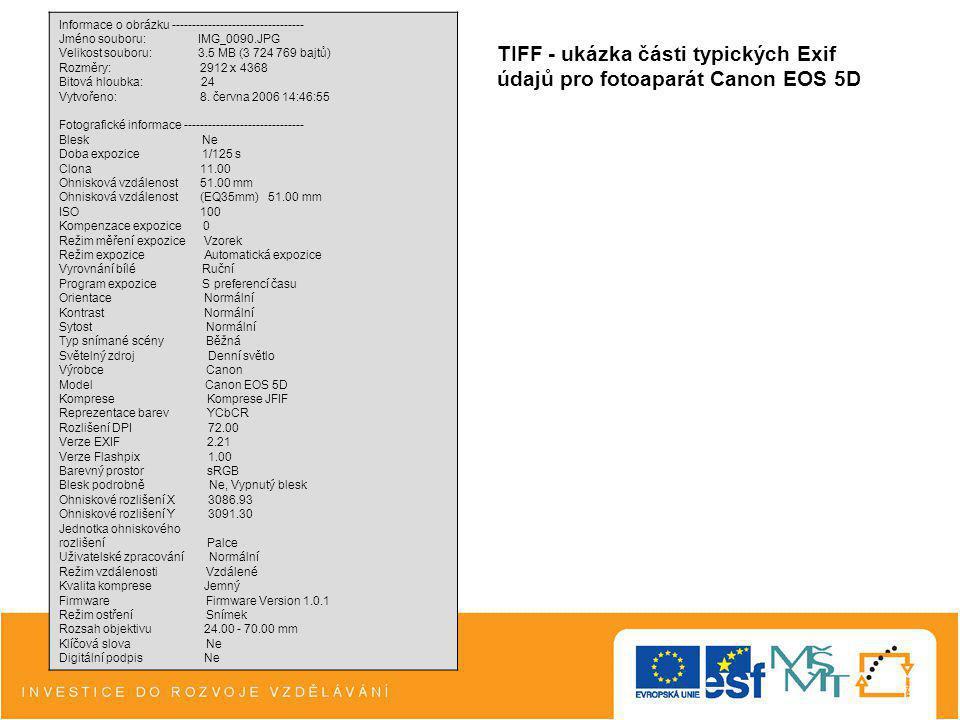 TIFF - ukázka části typických Exif údajů pro fotoaparát Canon EOS 5D