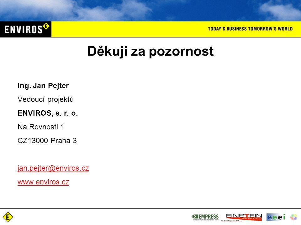 Děkuji za pozornost Ing. Jan Pejter Vedoucí projektů ENVIROS, s. r. o.