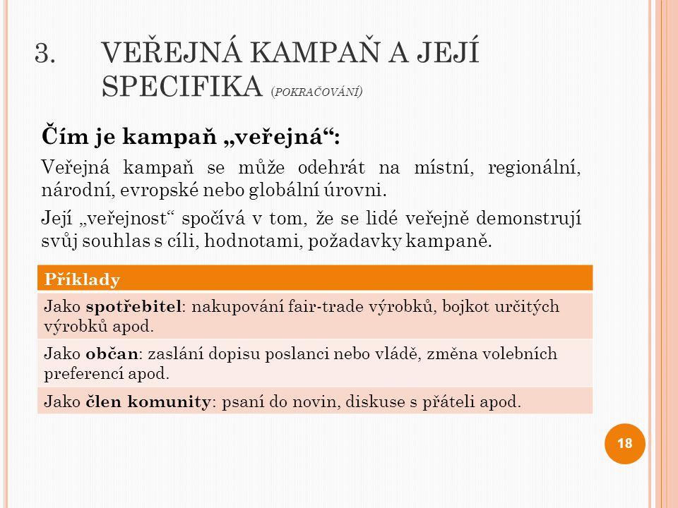 3. VEŘEJNÁ KAMPAŇ A JEJÍ SPECIFIKA (pokračování)