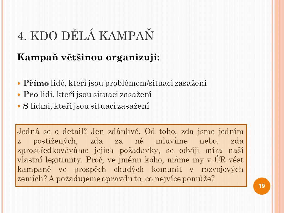 4. KDO DĚLÁ KAMPAŇ Kampaň většinou organizují: