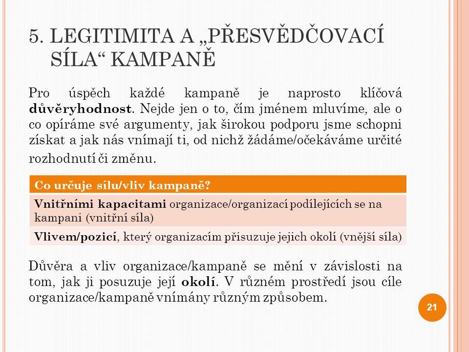 """5. LEGITIMITA A """"PŘESVĚDČOVACÍ SÍLA KAMPANĚ"""