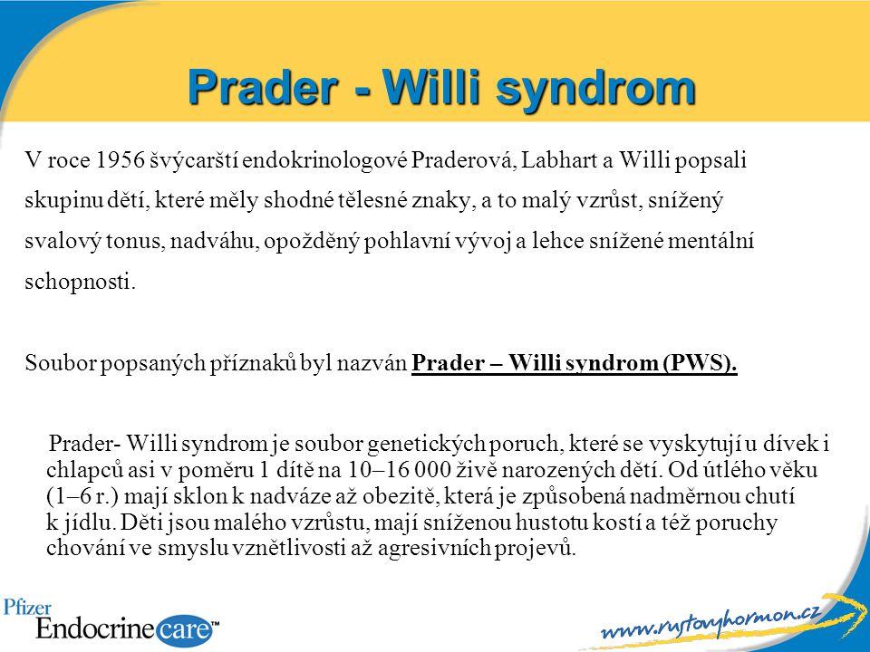 Prader - Willi syndrom V roce 1956 švýcarští endokrinologové Praderová, Labhart a Willi popsali.
