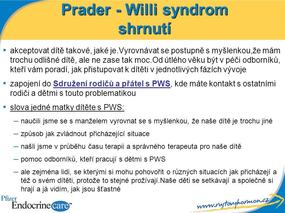 Prader - Willi syndrom shrnutí