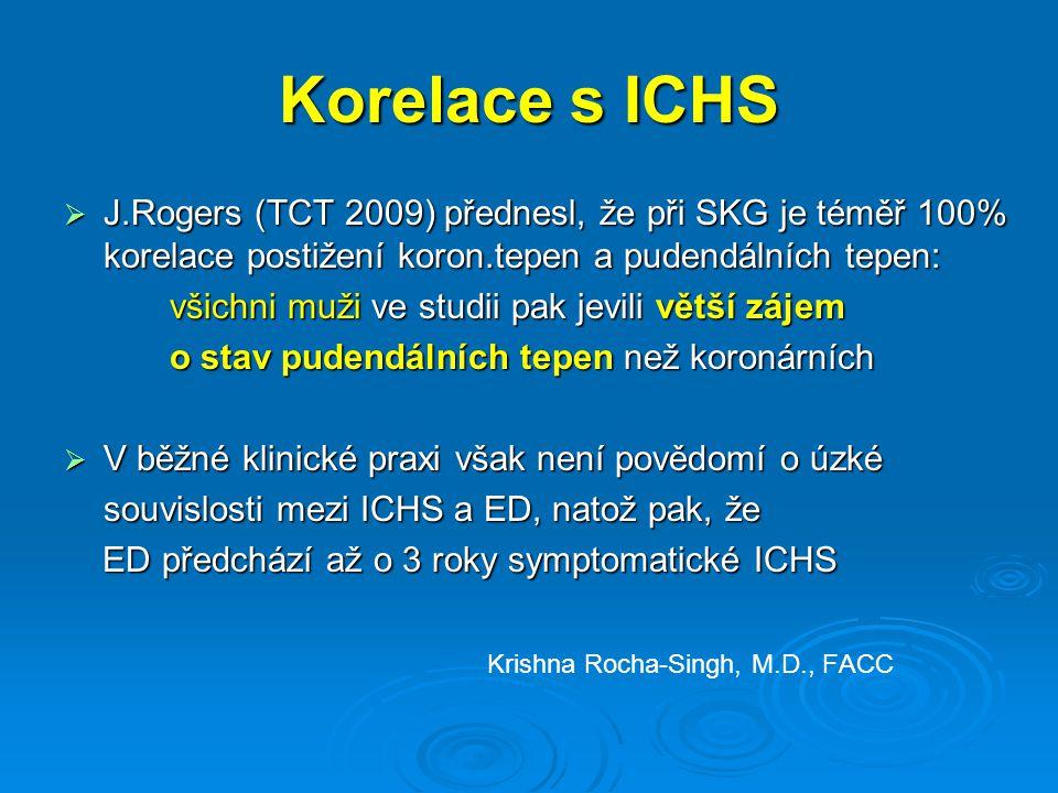 Korelace s ICHS J.Rogers (TCT 2009) přednesl, že při SKG je téměř 100% korelace postižení koron.tepen a pudendálních tepen: