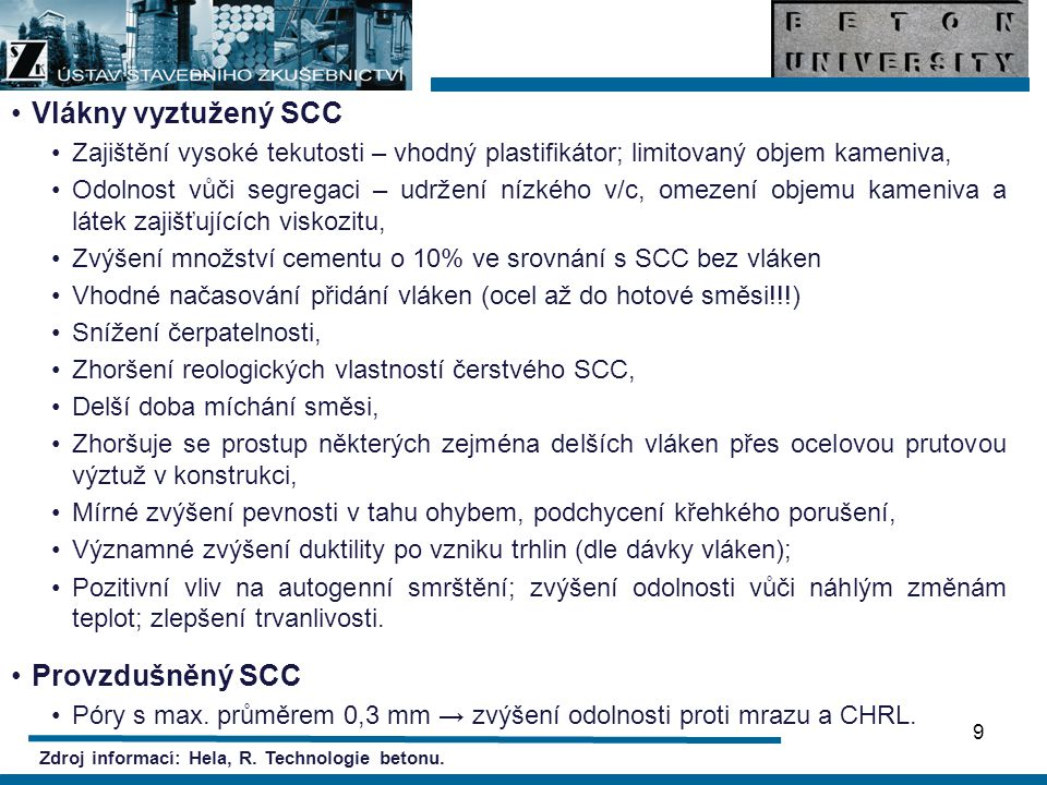 Vlákny vyztužený SCC Provzdušněný SCC