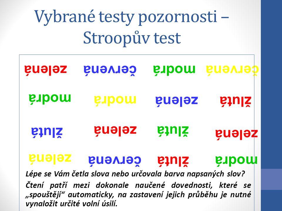 Vybrané testy pozornosti – Stroopův test