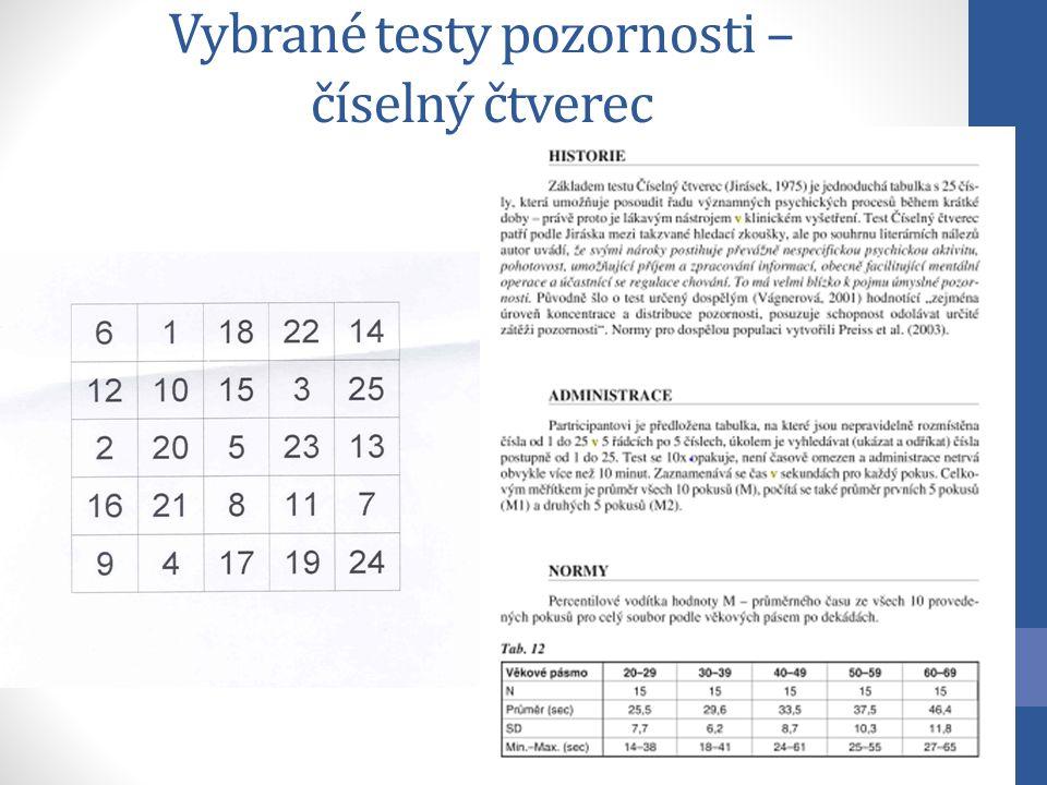 Vybrané testy pozornosti – číselný čtverec