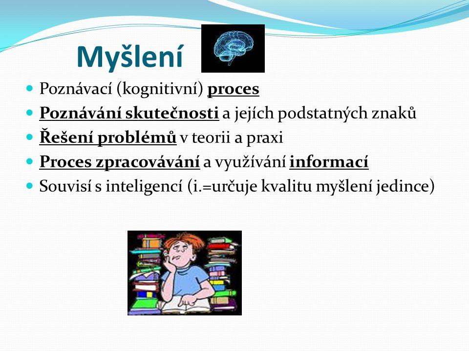 Myšlení Poznávací (kognitivní) proces