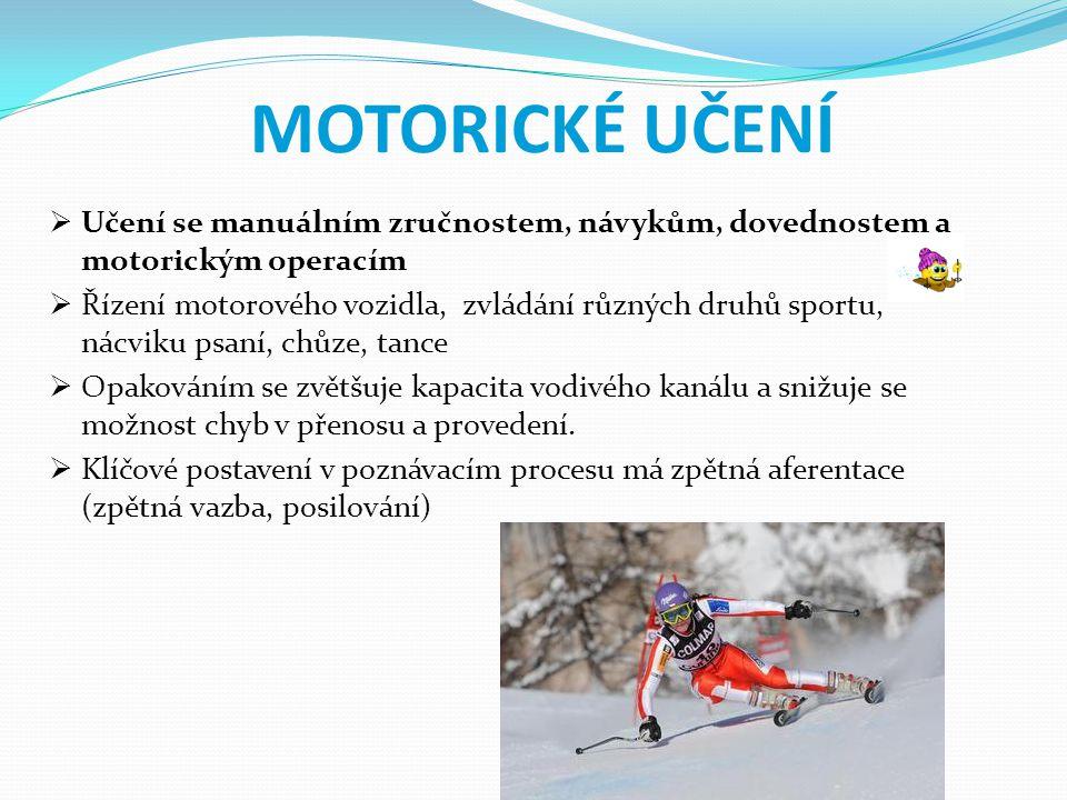MOTORICKÉ UČENÍ Učení se manuálním zručnostem, návykům, dovednostem a motorickým operacím.