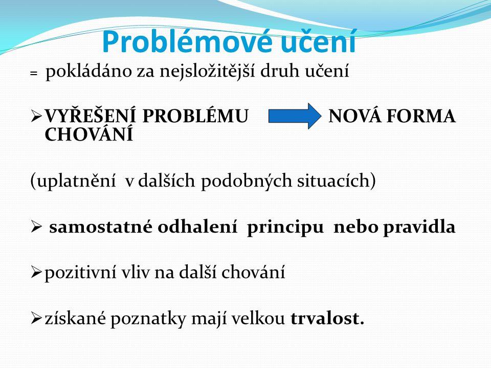 Problémové učení VYŘEŠENÍ PROBLÉMU NOVÁ FORMA CHOVÁNÍ
