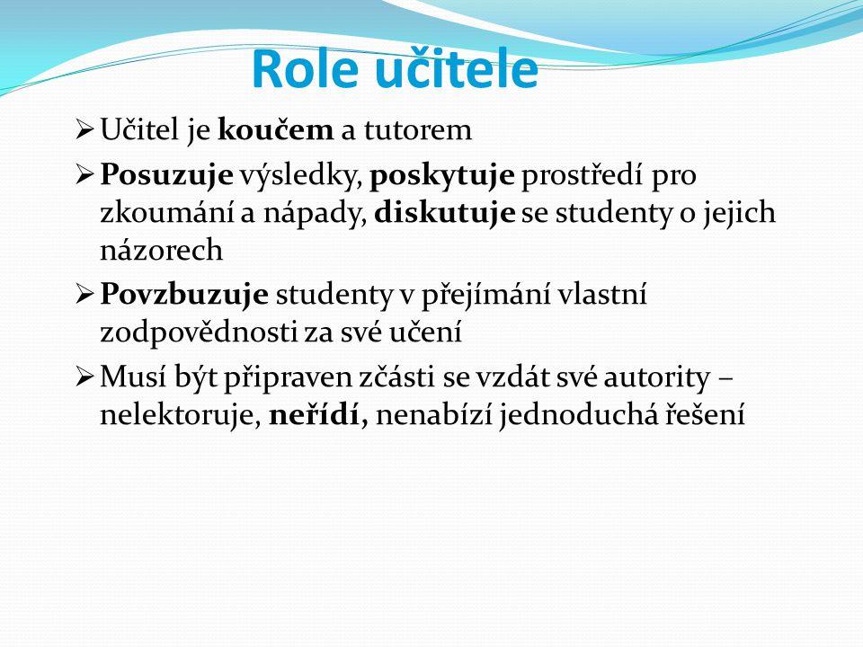 Role učitele Učitel je koučem a tutorem