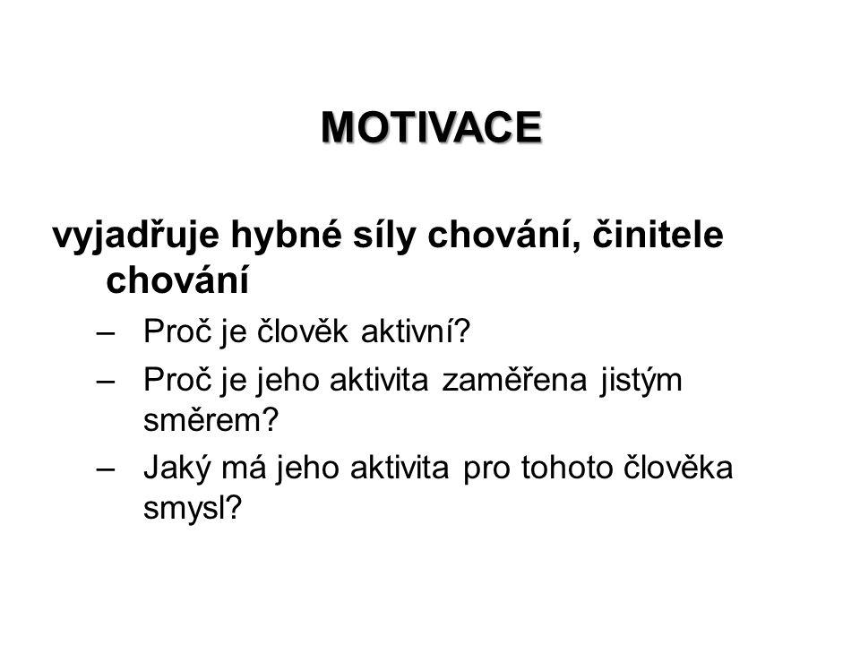 Motivace vyjadřuje hybné síly chování, činitele chování