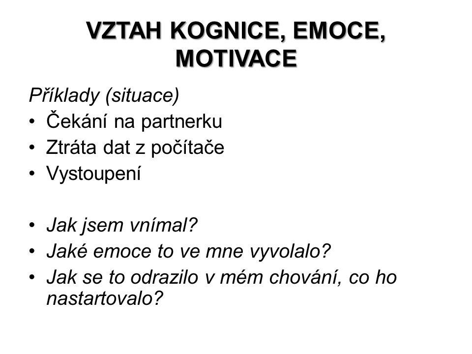 VZTAH KOGNICE, EMOCE, MOTIVACE