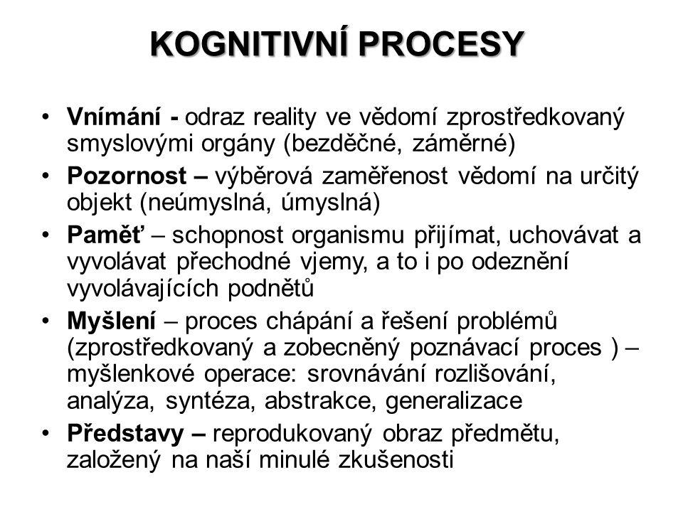 Kognitivní procesy Vnímání - odraz reality ve vědomí zprostředkovaný smyslovými orgány (bezděčné, záměrné)