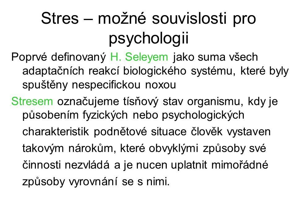 Stres – možné souvislosti pro psychologii