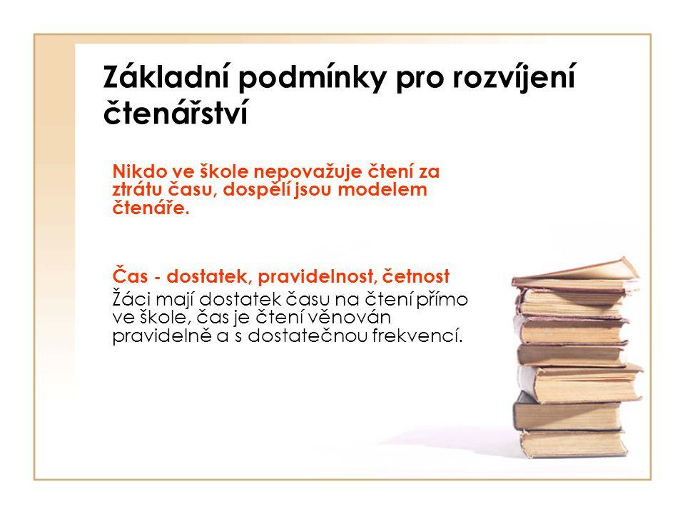 Základní podmínky pro rozvíjení čtenářství