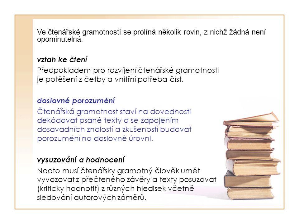 Ve čtenářské gramotnosti se prolíná několik rovin, z nichž žádná není opominutelná: