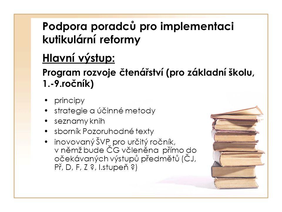Podpora poradců pro implementaci kutikulární reformy