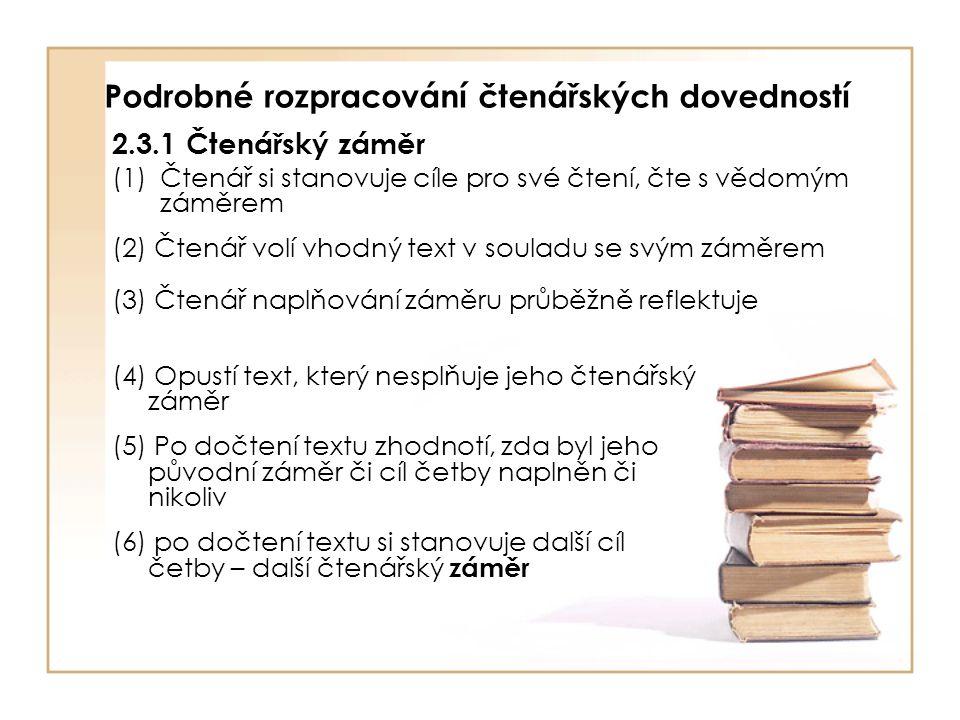 Podrobné rozpracování čtenářských dovedností