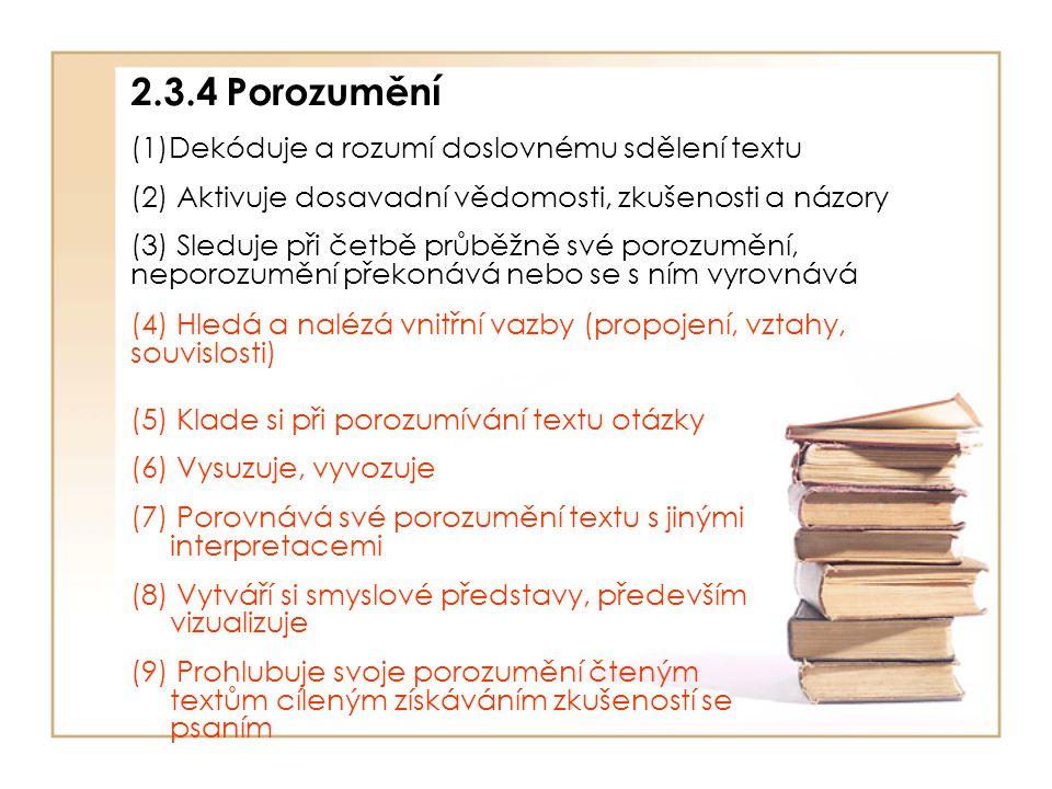 2.3.4 Porozumění Dekóduje a rozumí doslovnému sdělení textu
