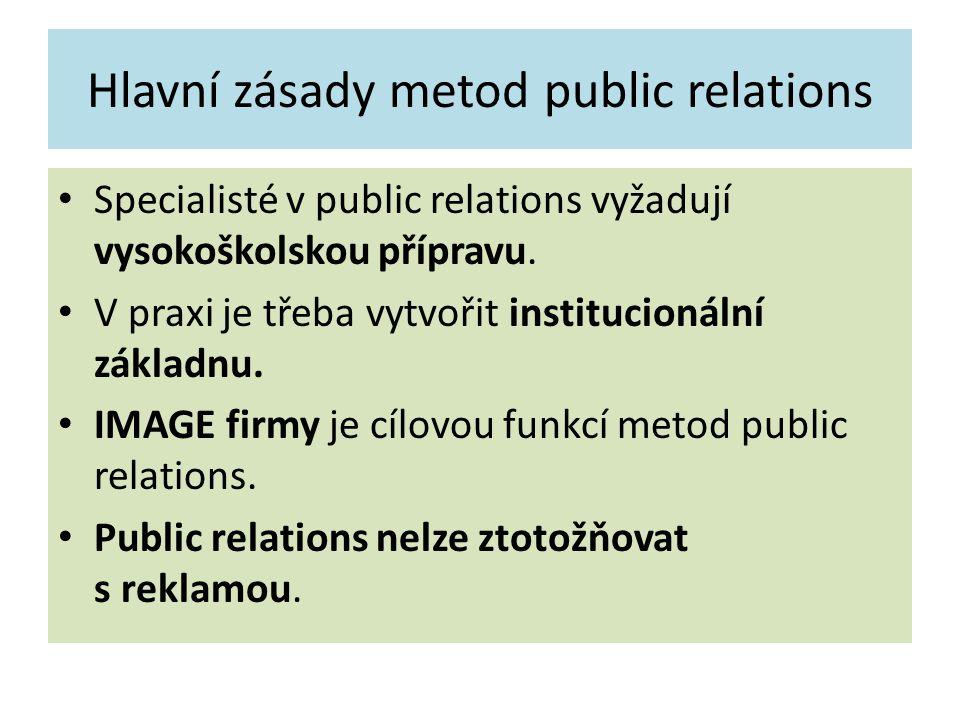 Hlavní zásady metod public relations