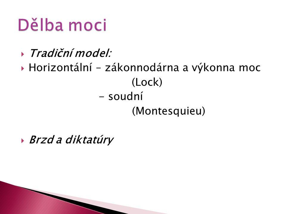 Dělba moci Tradiční model: Horizontální – zákonnodárna a výkonna moc