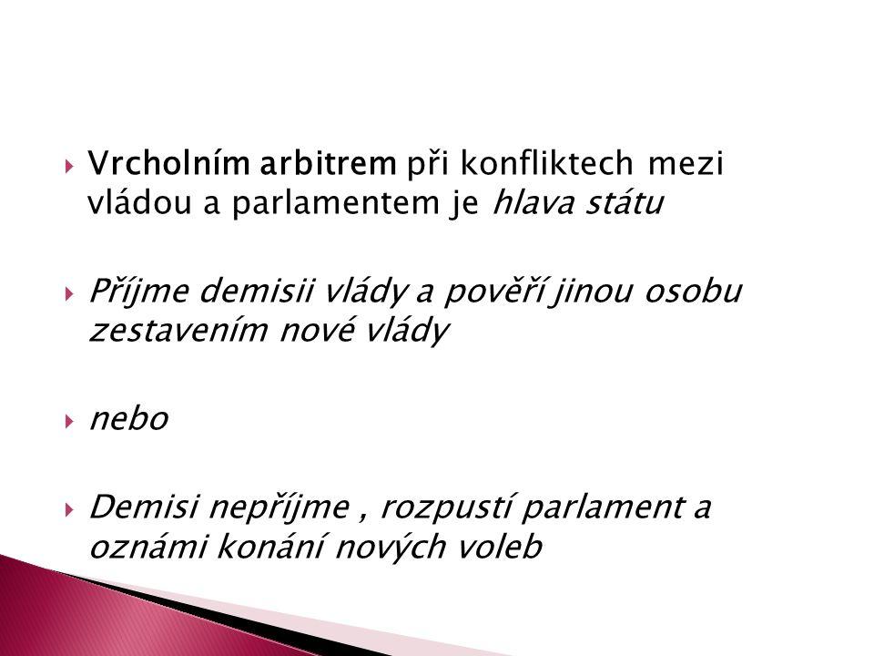 Vrcholním arbitrem při konfliktech mezi vládou a parlamentem je hlava státu