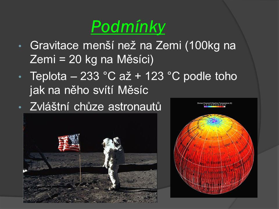 Podmínky Gravitace menší než na Zemi (100kg na Zemi = 20 kg na Měsíci)