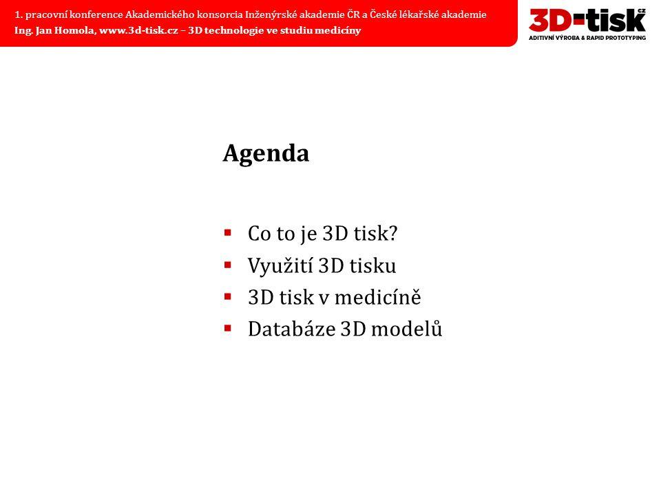Agenda Co to je 3D tisk Využití 3D tisku 3D tisk v medicíně