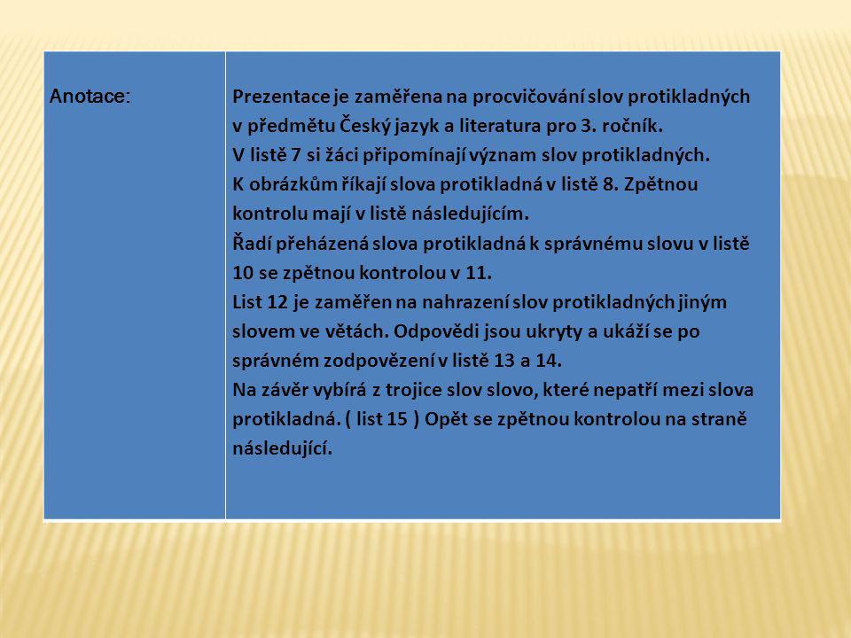 Anotace: Prezentace je zaměřena na procvičování slov protikladných. v předmětu Český jazyk a literatura pro 3. ročník.