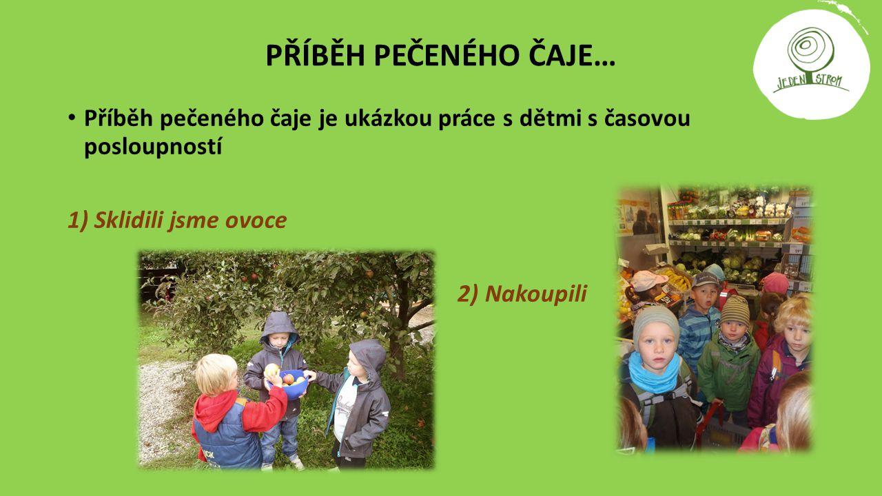 PŘÍBĚH PEČENÉHO ČAJE… Příběh pečeného čaje je ukázkou práce s dětmi s časovou posloupností. 1) Sklidili jsme ovoce.