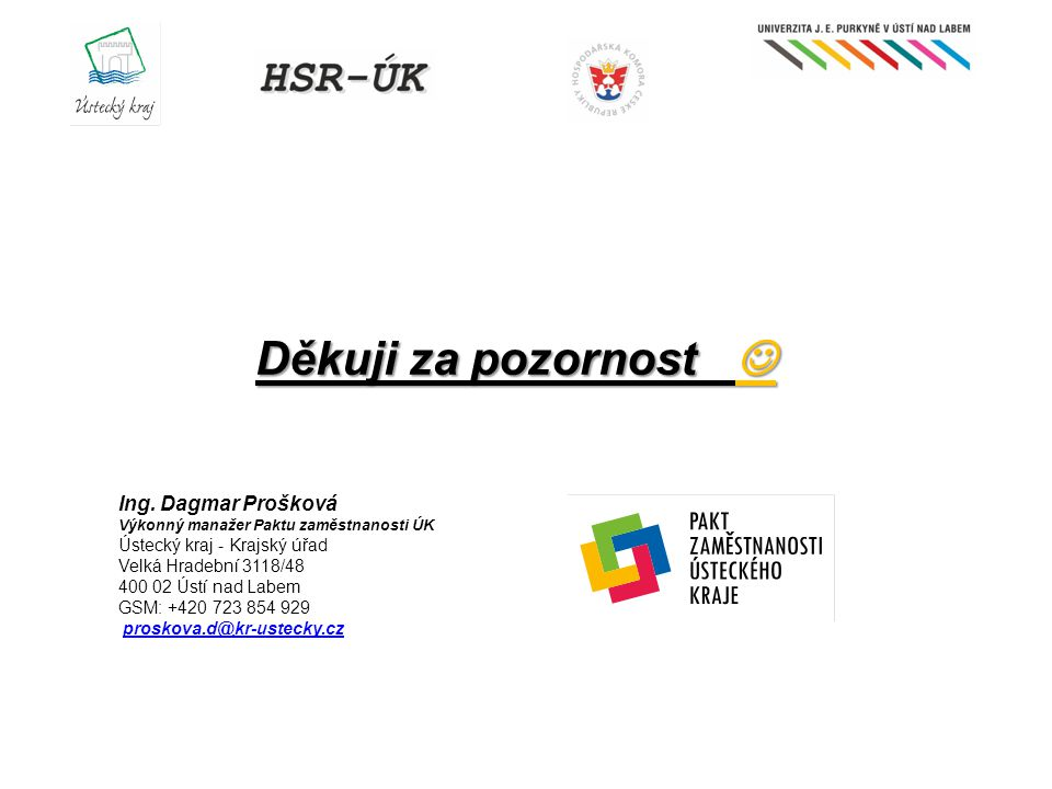 Děkuji za pozornost  Ing. Dagmar Prošková Ústecký kraj - Krajský úřad