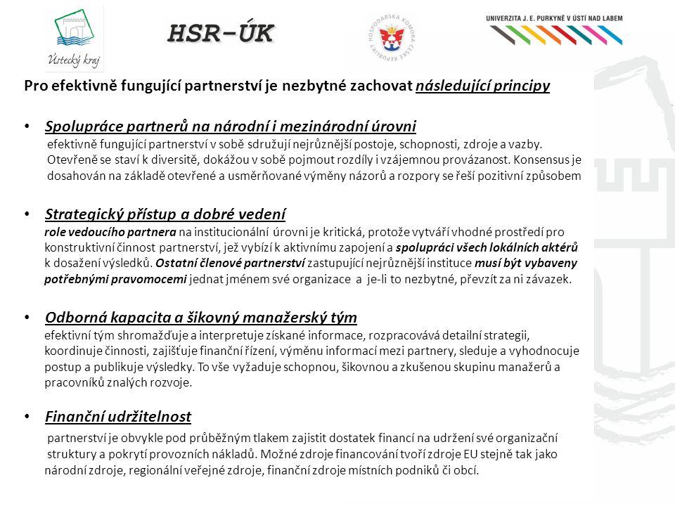Spolupráce partnerů na národní i mezinárodní úrovni