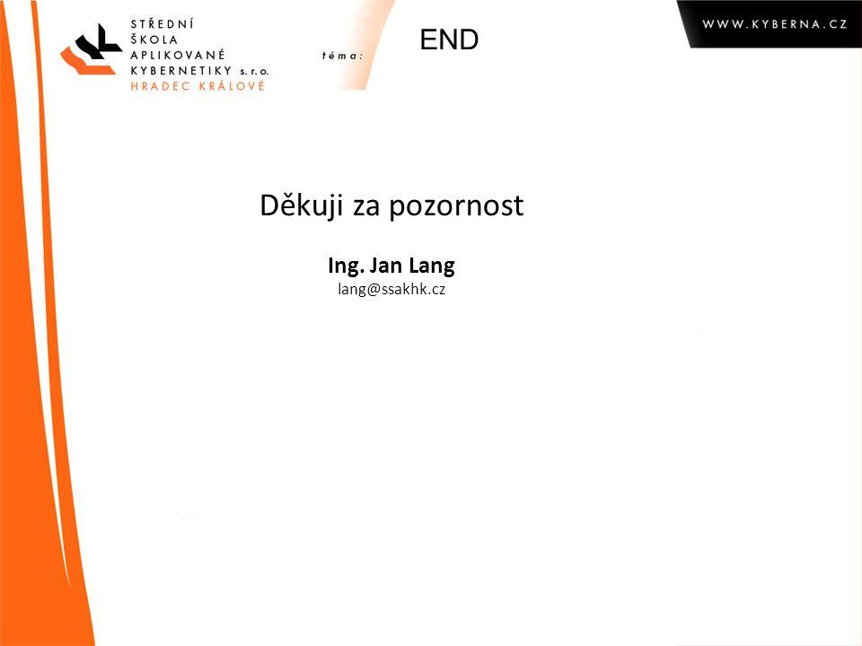 END Děkuji za pozornost Ing. Jan Lang lang@ssakhk.cz