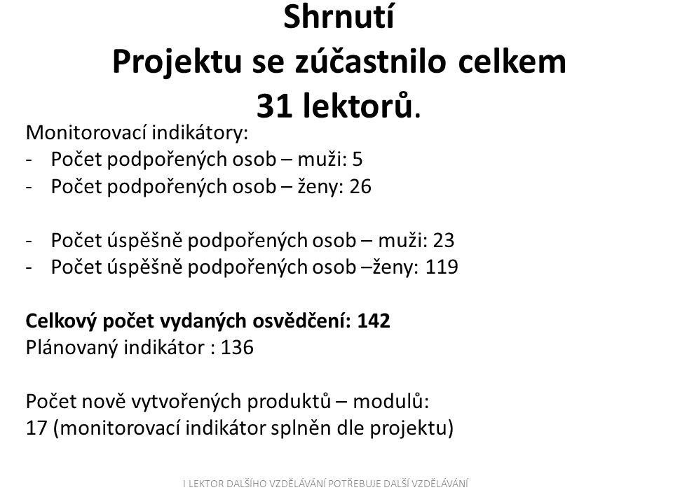 Shrnutí Projektu se zúčastnilo celkem 31 lektorů.