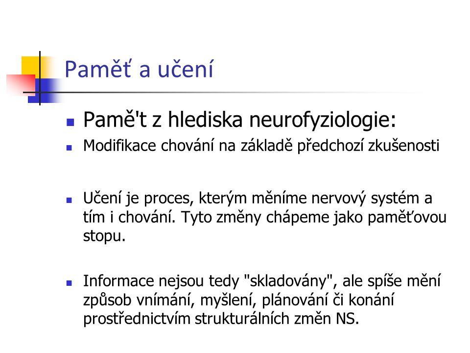 Paměť a učení Pamě t z hlediska neurofyziologie: