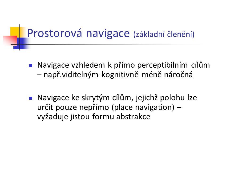 Prostorová navigace (základní členění)