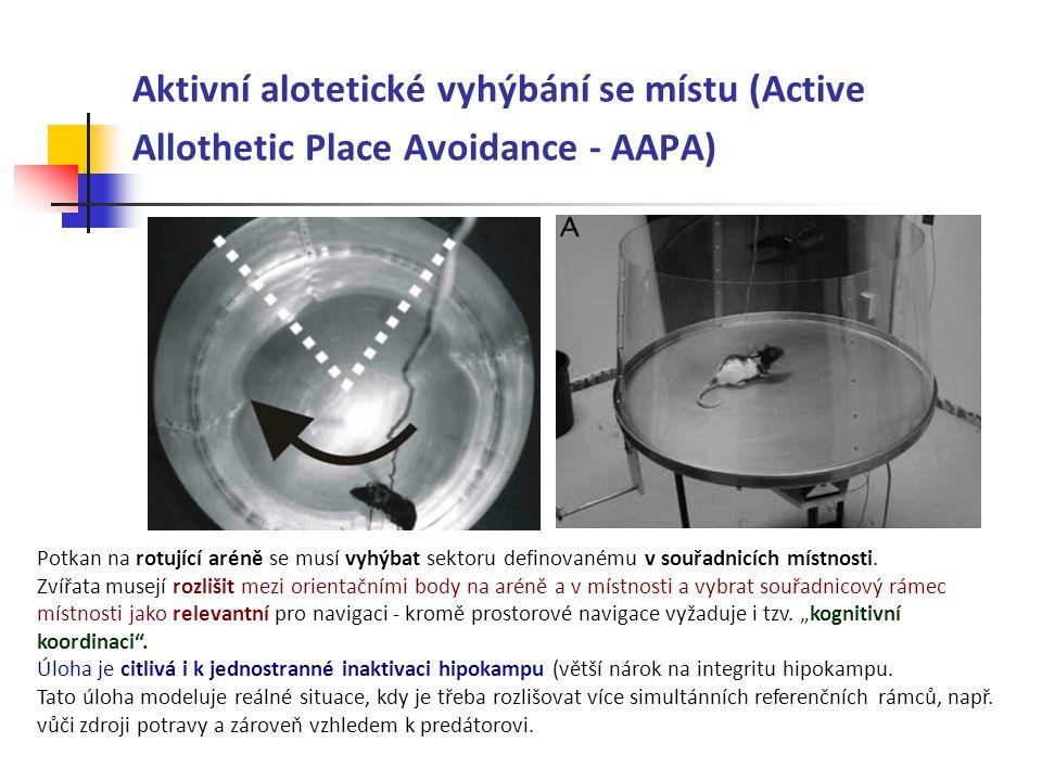 Aktivní alotetické vyhýbání se místu (Active Allothetic Place Avoidance - AAPA)